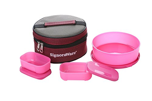Signoraware Classic Lunch Box Set with Bag, Pink