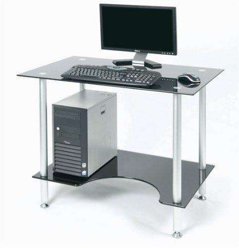 Zyon ZB500 vetro nero contemporaneo e alluminio scrivania con scaffale ergonomica minore
