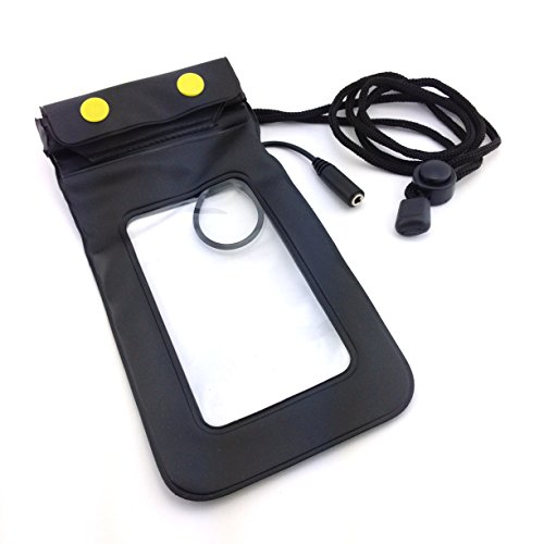 Unterwasser- Tasche für Samsung GALAXY S4 mini i9195i 8GB black Android Smartphone und alle 4,7 Zoll - 11,93 cm Smartphones - Wasserdicht, Staubdicht, Waterproof, Reise, Urlaub, Strand, Bade- Tasche,- Beutel,- Hülle,- Case, Cover, Beachbag, Telefonbeutel, Elementcase - PVC/Gummi Schwarz/Transparent