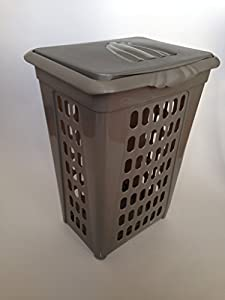 Plastic perforated rectangular lift top sorting laundry hamper with lid 0335 2gr 2 - Plastic hamper with lid ...