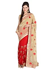 Mina Bazaar Georgette And Net Saree With Blouse Piece - B00NSEFS7A