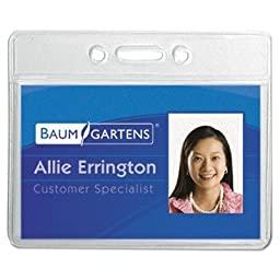 Baumgartens - Vinyl Badge Holder,No Clip,Horz,3-3/8\