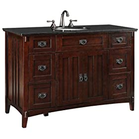 "Artisan Six drawer Bath Vanity, 34""Hx48""W, DARK OAK"