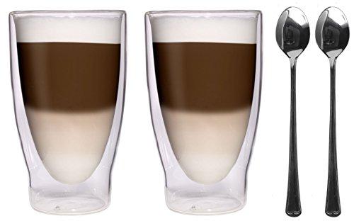AKTION: 2x 370ml XXL doppelwandige Thermogläser + 2x Edelstahl-Löffel 18/10 - Cocktailgläser / Longdrinkgläser / Eistee-Gläser / Saft- und Wassergläser - 2x 370ml edle extra große Thermogläser mit Schwebeeffekt von Feelino