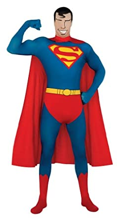 DC Comics Adult Superman 2nd Skin Zentai Super Suit, Blue, Medium Costume