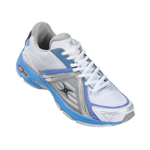 GILBERT Helix Junior Netball Shoes, White/Silver/Blue, US6 (Netball Shoes compare prices)