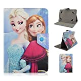 Universal 8.0 (8 inch) Premium Quality Cute kids Disney Cartoon Frozen Princess Faux Leather Stand Up Flip Case Cover For All 8.0 inch PC Tablets Android devices - Executive Designs For 8' tablets (Frozen Elsa & Anna)