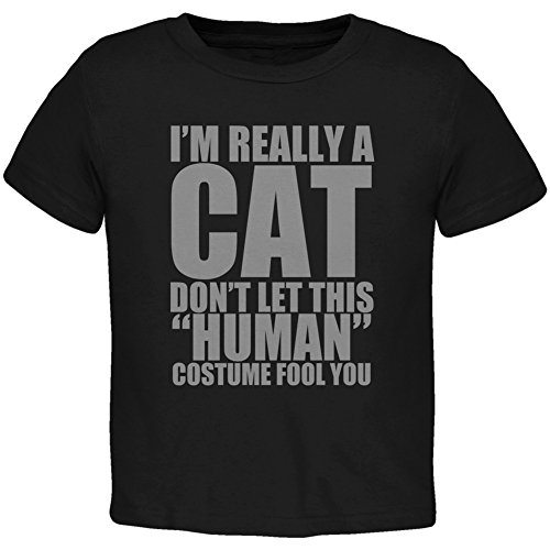 Halloween Human Cat Costume Black Toddler T-Shirt