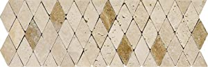 Arizona Tile ST-101 Sterling 4 by 12-Inch Natural Stone Tumbled Listelle, Torreon Rhomboid, 4-Pack