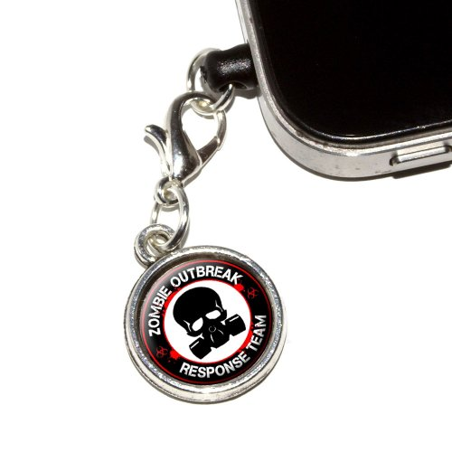Graphics And More Zombie Outbreak Response Team Gas Mask - Bloody Red Anti-Dust Plug Earphone Headset Jack Charm For Mobile Phones - 1 Pack - Non-Retail Packaging - Antiqued Silver