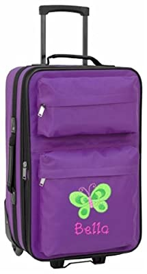 Personalised Kids luggage with wheels (purple)