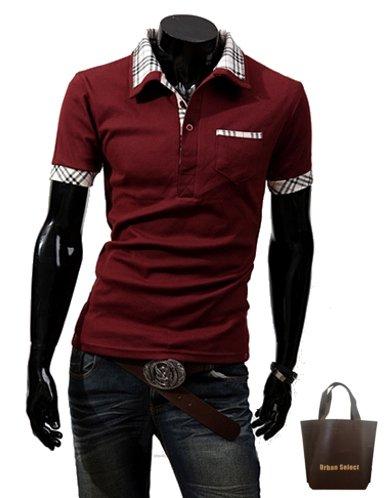 (アーバンセレクト) Urban Select ポロシャツ メンズ 半袖 ブランド ホワイト ボタンダウン AI-448 (エコバッグセット) (L(S相当), ワインレッド)