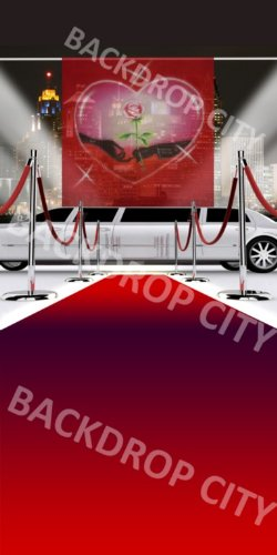 10x20 Lovers Limo Valentine Scenic Computer-Printed Background Backdrop