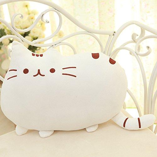 Big Cat Emoji Throw Pillow Pet Sofa Decorative Cushion Soft Plush Toy Doll 15inches 1pc (White)