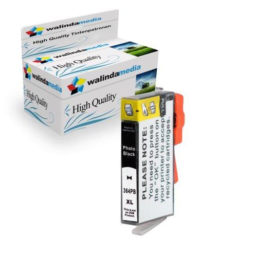 Walindamedia 1x Druckerpatrone Ersatz für Hp 1x 364 XL Tinte Photoblack 20ml Ersatz für Hp CB317EE ( 364 xl , hp364xl) , schwarz, bk, Original Smartserie