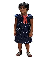 Snowflakes Girls' Dress (GFCKCNHSBE0556, Blue Polka dots, 5 - 6 Years)