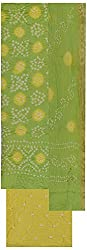 MS Bandhani Women's Cotton Silk Unstitched Dress Material (MSB_9-A, Light Green)