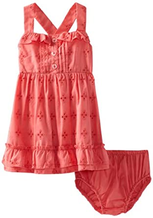 Baby Togs Baby-girls Infant Eyelet Dress, Coral, 24 Months
