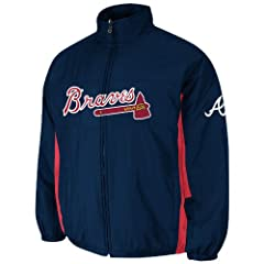 Atlanta Braves Navy Authentic Double Climate On-Field Jacket by Majestic by Majestic