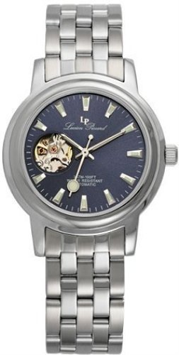 Lucien Piccard Men's 20 Jewel Skeleton Automatic SS Blue Dial Sapphire Crystal Watch 28504SL