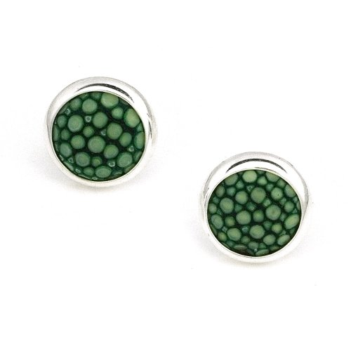 925 Sterling Silver Green Turquoise Round Bezel Setting Stud Earrings