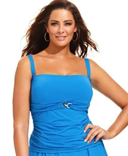 Michael Michael Kors Linked Bandini Top Bandeau Bikini (Plus Size) (22W, Summer Blue)