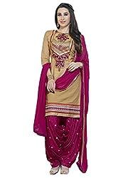 Beige colour embroidered cotton_silk fabric semi stich churidar dress material