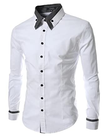 Thelees mens long double collar cuff slim dress shirts for Small collar dress shirt