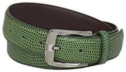 Stacy Adams Men's 32mm Genuine Leather Lizard Skin Print Belt With Brushed Nickle Buckle, Olive, 38