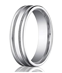 Benchmark Designer 950 Platinum 6mm Comfort Fit Men's Wedding Ring with Parallel Milgrain Accent Lines and Polished Finish