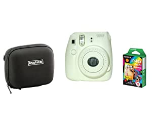 Fujifilm Instax Mini 8 White Camera + Mini Rainbow Colored Border 10 images + case