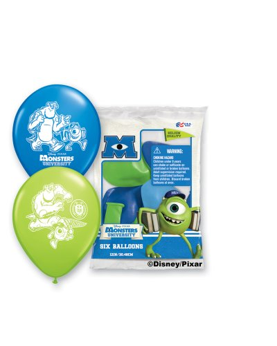 "Pioneer National Latex Monsters University 6 Count 12"" Latex Balloons, Assorted"
