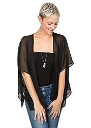 Maya Georgette Kimono Black 10