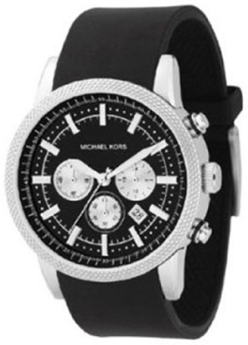 Michael Kors Watches Men's Black PU Chronograph (Black)
