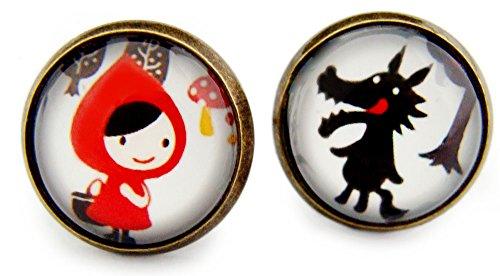 Miss Lovie orecchini Cappuccetto Rosso e Lupo orecchini Cabochon 12 mm orecchini a forma di animali del bosco
