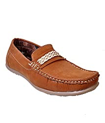 Duppy Boys Beige Synthetic Leather Loafers 04 UK