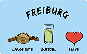 """Frühstücksbrettchen """"Freiburg: Lange Rote-Gutedel-Liebe"""" - als Geschenk für Breisgauer & Fans der Universitätsstadt oder als Freiburg Souvenir"""