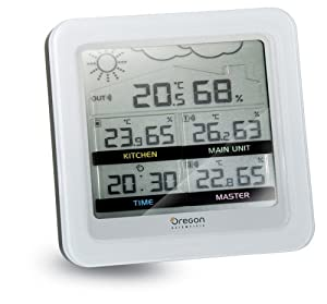 Oregon Scientific Multi-Room Indoor-Climate Monitor w/Atomic Clock plus Weather Forecaster - RMR500A