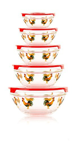 10 Pcs Glass Bowl or Food Storage Bowls Set with Red Lids - Rooster Design (5 Piece Glass Bowl Set Rooster compare prices)