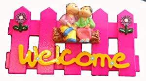 Gift and Decor Pink Wood Door Lovely Welcome Sign 7 X 5 Inch Thai Handmade.