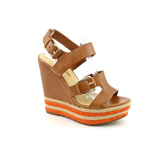 Luxury Rebel Nelly Open Toe Wedge Sandals Shoes Brown Womens