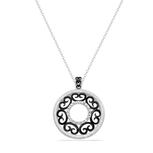 Sterling Silver Diamond Circle with Filigree Hearts Pendant Necklace (0.05 cttw, I-J Color, I2-I3 Clarity), 18