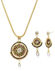 "AAKSHI Red & Green Pearl Drop ""Chakhra Of Karma"" Pendant Necklace With Matching Earrings (AKS_ST_COLP)"