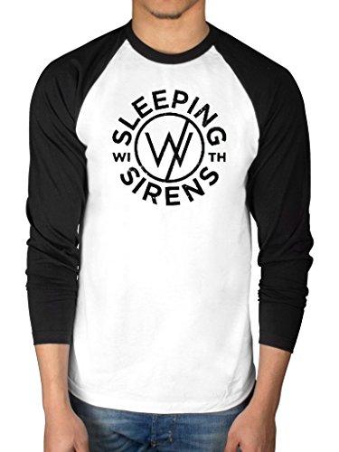 Ufficiale dormire con le sirene Logo a maniche lunghe maglietta da Baseball Album gruppo musicale Black/White M
