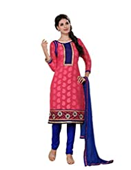 Nistula Girls' Straight Cut Jacquard Top With Cotton Bottom Unstitched Dress Material [Peach_Free Size] | Wave...