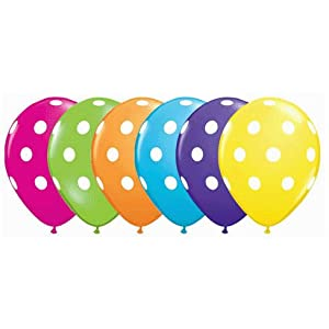 "Polka Dot Balloons - 11"" Latex Balloons by Qualatex - 12 count from QUALATEX"