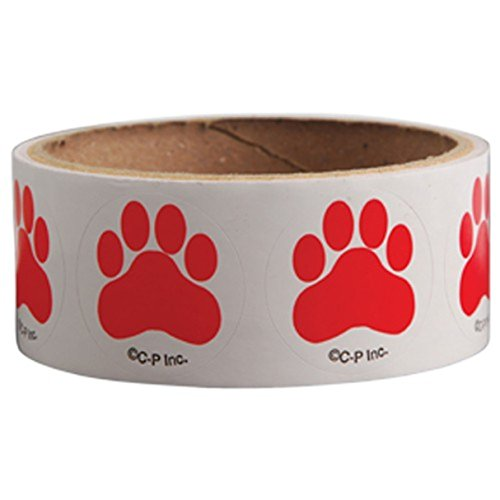 Lot Of 100 Red Dog Puppy Paw Print Stickers