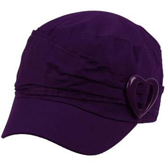 Cotton Toddler Girls Kids 1-2 Summer Heart Cadet GI Castro Hat Cap 50cm Purple