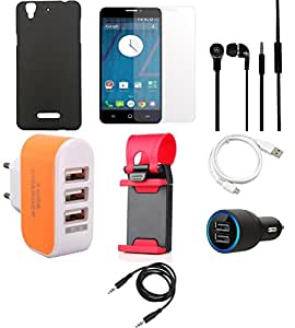 NIROSHA Tempered Glass Screen Guard Cover Case Car Charger Headphone USB Cable Mobile Holder Charger Combo for YU Yureka Combo