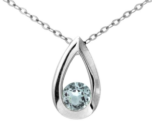 9ct White Gold 0.30ct Blue Topaz Teardrop Pendant + 46cm Chain